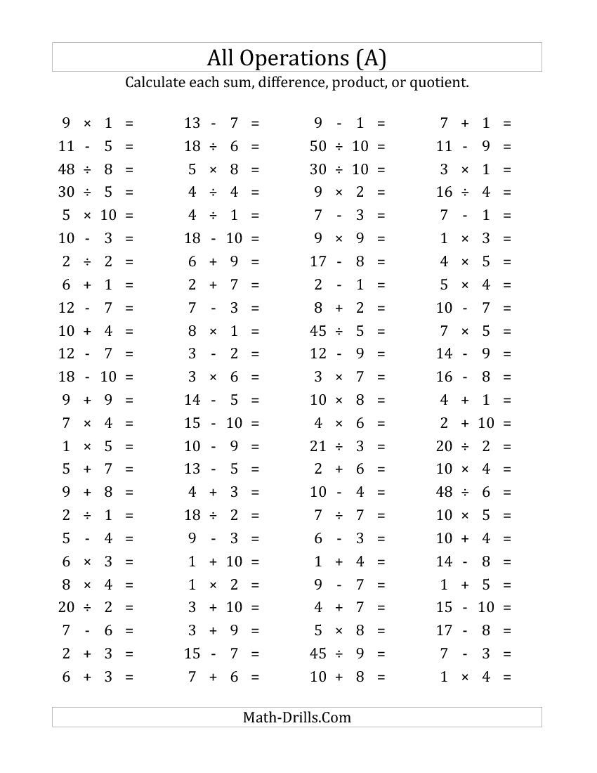 100 Horizontal Mixed Operations Questions (Facts 1 To 10) (A within Multiplication Worksheets Horizontal