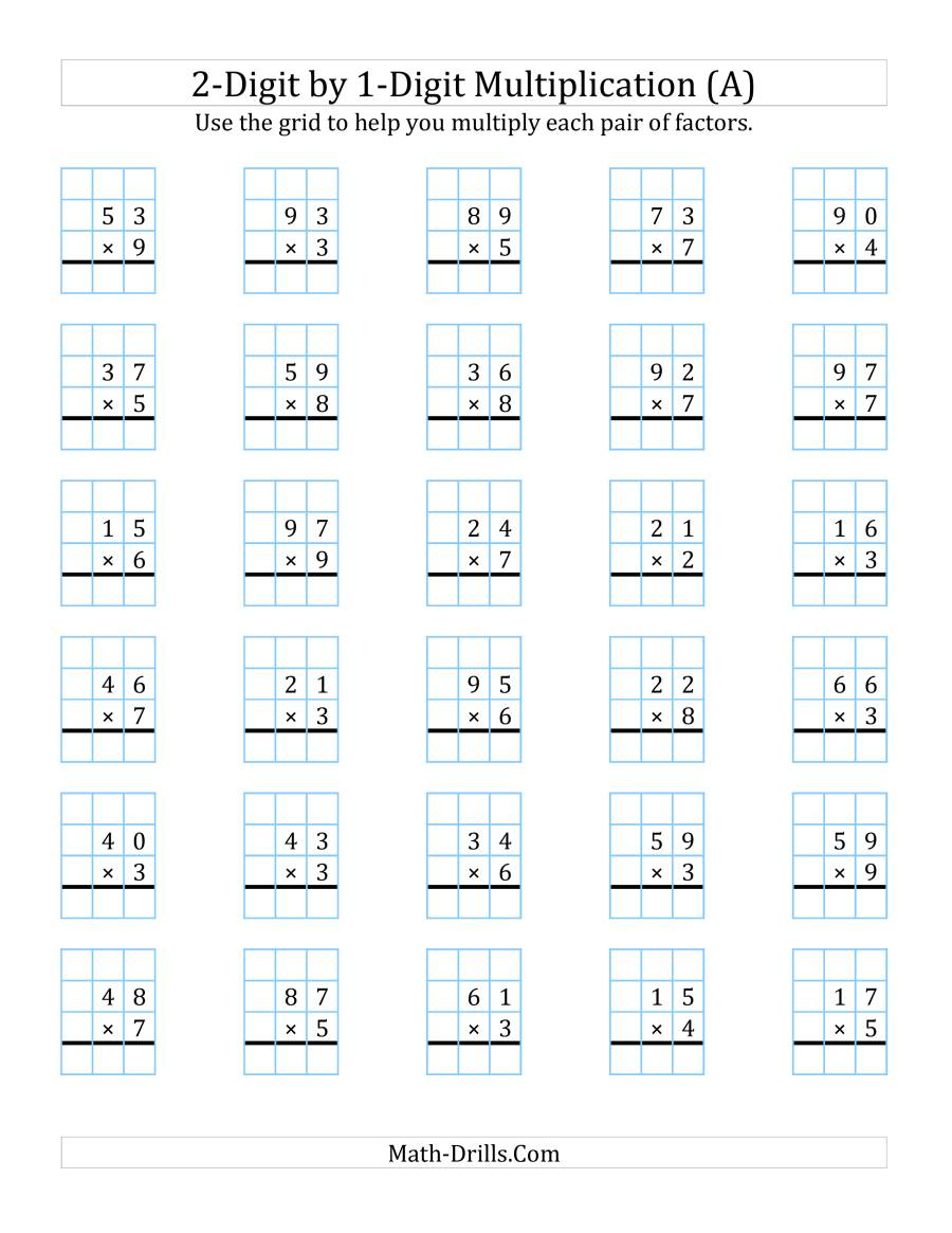 2-Digit1-Digit Multiplication With Grid Support (A) with Printable Multiplication Grid