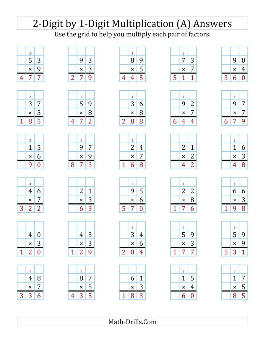 2 Digit1 Digit Multiplication Worksheets On Graph Paper in Worksheets Multiplication 2