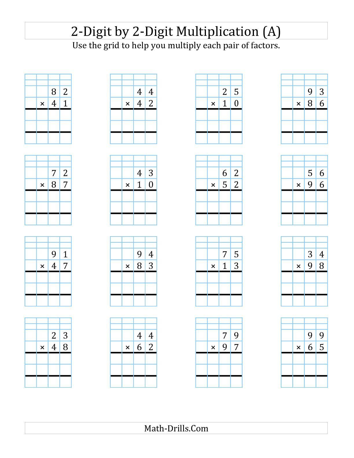 2 Digit1 Digit Multiplication Worksheets On Graph Paper inside Multiplication Worksheets Regrouping