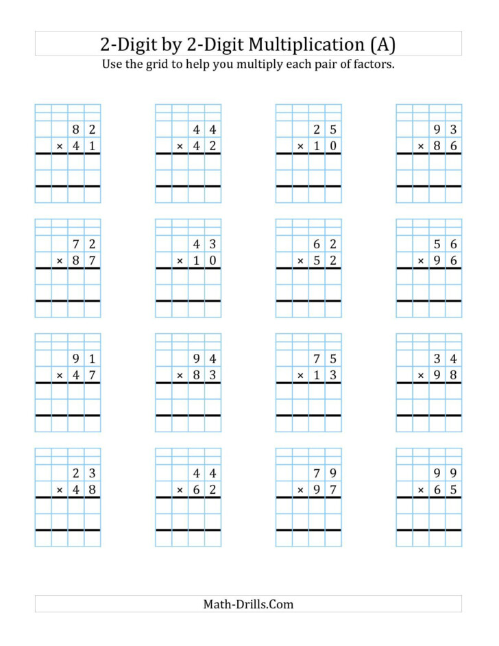 Free Printable Lattice Multiplication Grids