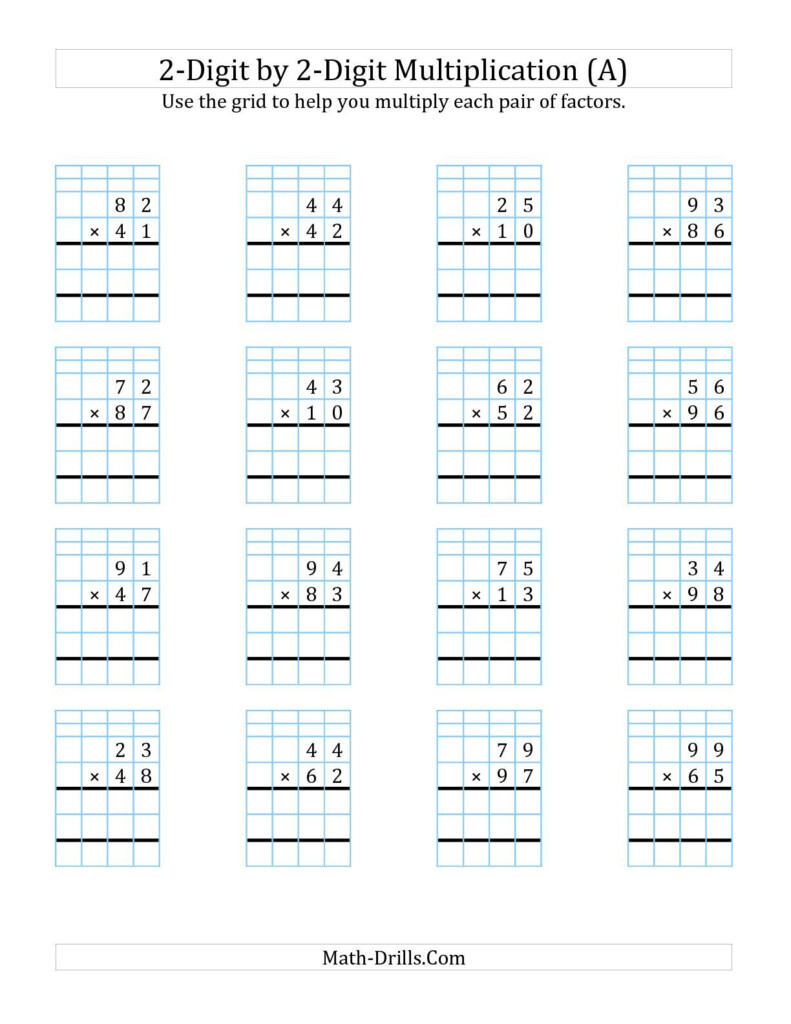 2 Digit1 Digit Multiplication Worksheets On Graph Paper Throughout Free Printable Lattice Multiplication Grids