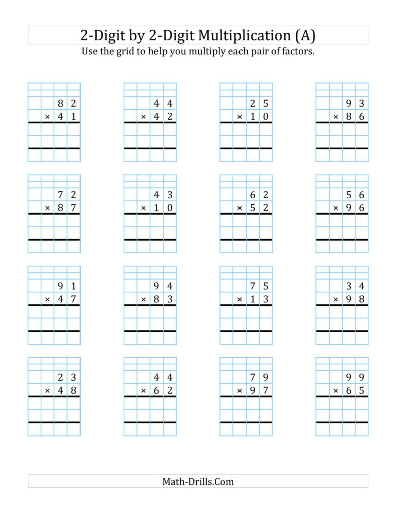 2 Digit2 Digit Multiplication With Grid Support (A) Intended For Printable Multiplication 2X2