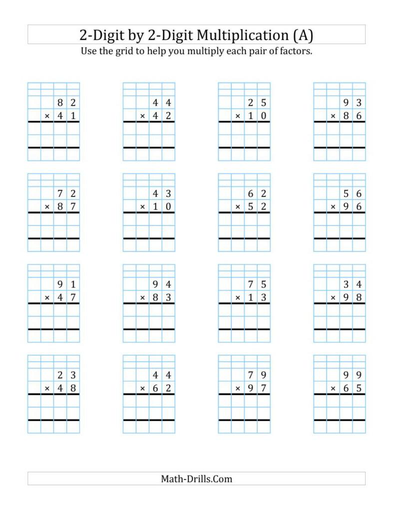 2 Digit2 Digit Multiplication With Grid Support (A) Regarding Printable Multiplication Grid Method