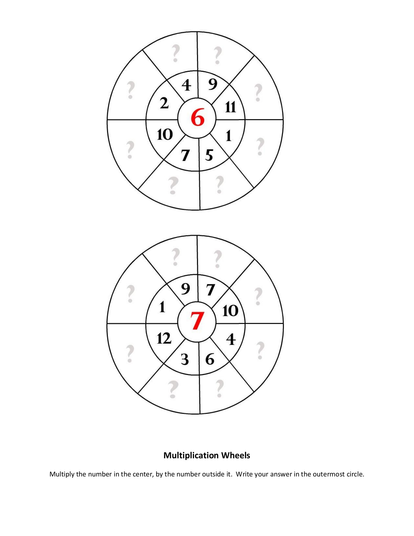 2: Multiplication Wheels - Printable Math Worksheets Pages 1 in Printable Multiplication Wheels