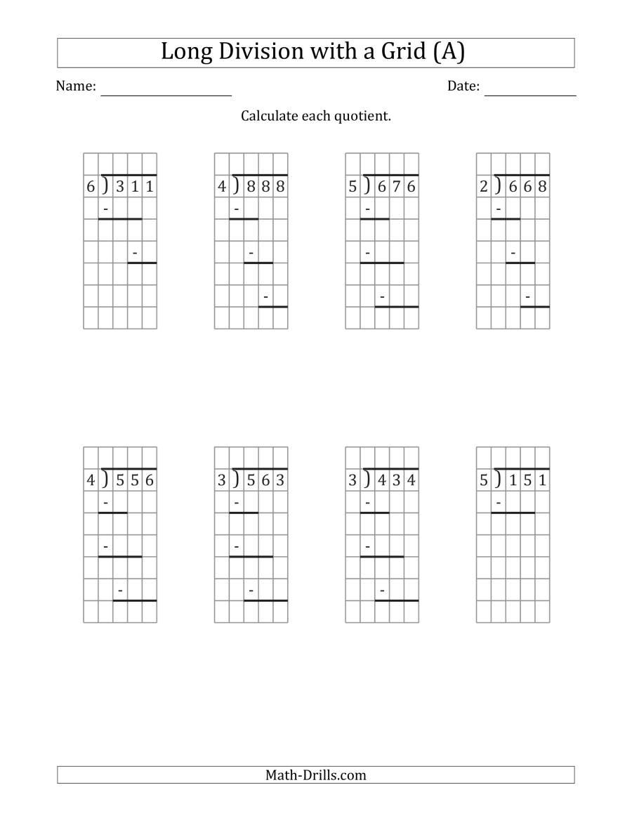 3-Digit1-Digit Long Division With Remainders With Grid in Printable Multiplication Grid Worksheet Generator