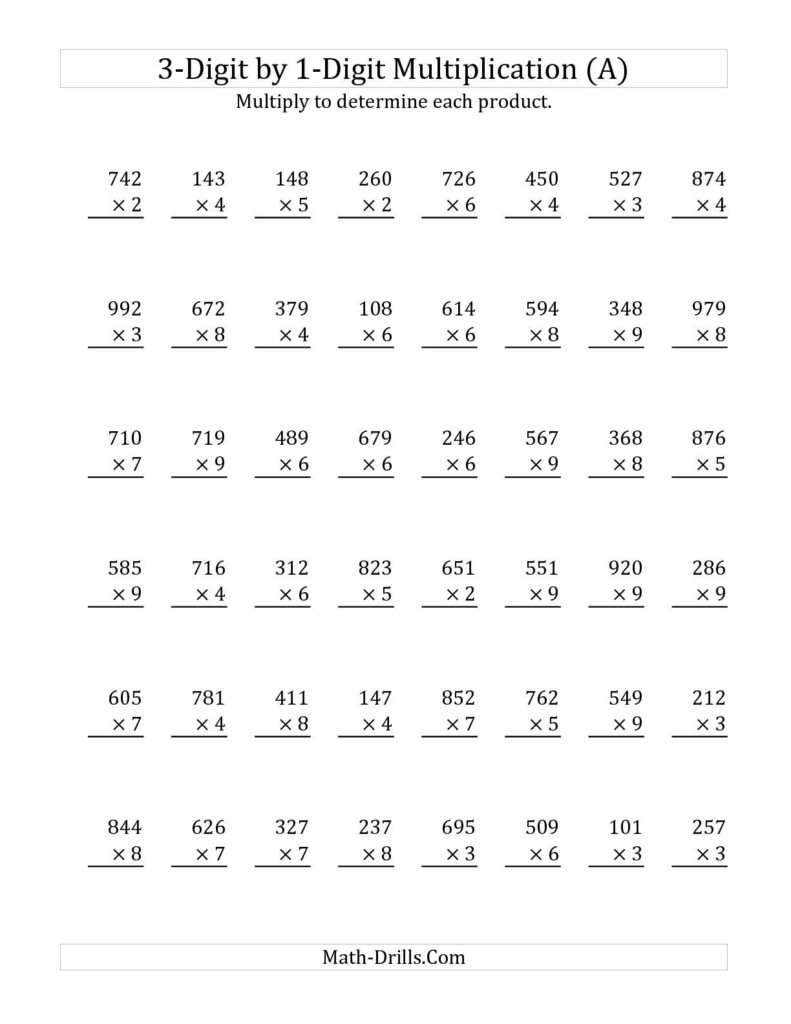 3 Digit1 Digit Multiplication (A) Math Worksheet Pertaining To Printable Long Multiplication Worksheets