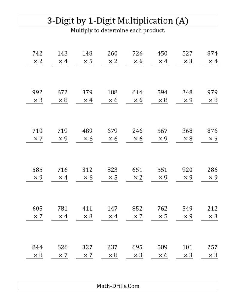 3 Digit1 Digit Multiplication (A) Math Worksheet Within Free Printable Long Multiplication