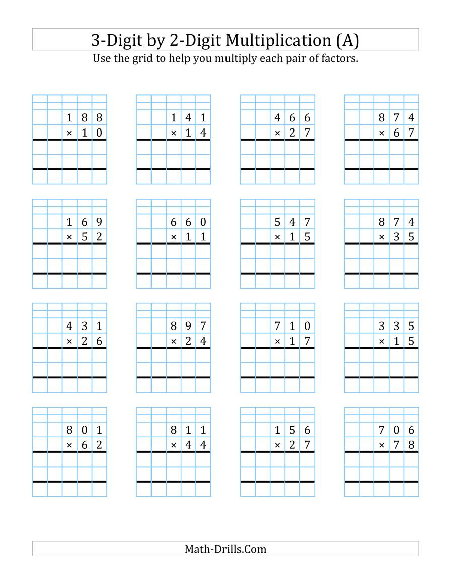 3-Digit2-Digit Multiplication With Grid Support (A) in Printable Long Multiplication