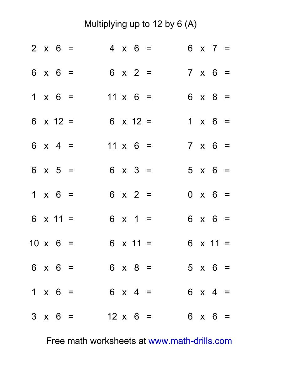 36 Horizontal Multiplication Facts Questions -- 60-12 (A) regarding Multiplication Worksheets 6-12
