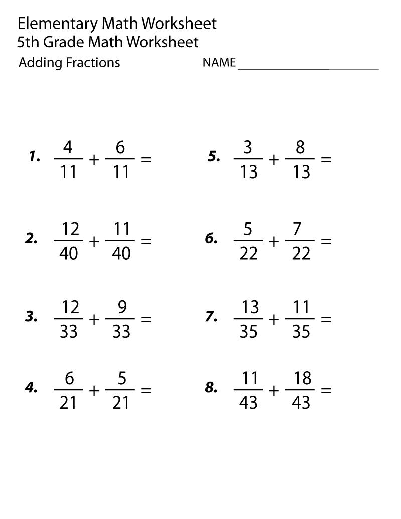 5Th Grade Math Worksheets Adding Fraction | Math Worksheets in 5's Multiplication Worksheets