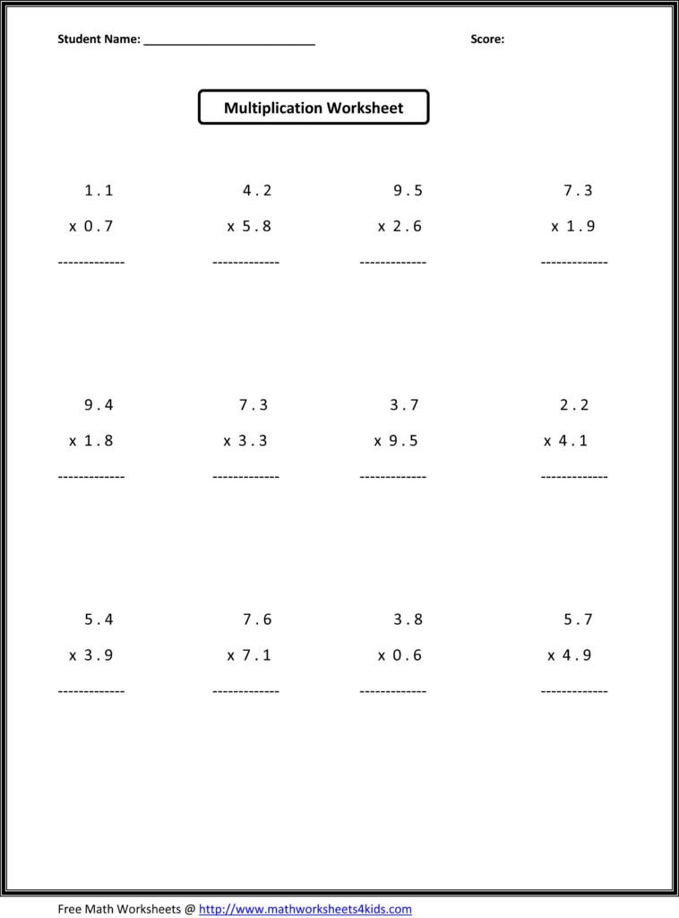6Th Grade Math   7Th Grade Math Worksheets, Kindergarten With Multiplication Worksheets 6 Grade