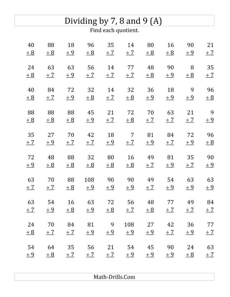 7,8 & 9 Division Worksheets Intended For Multiplication Worksheets 8Th
