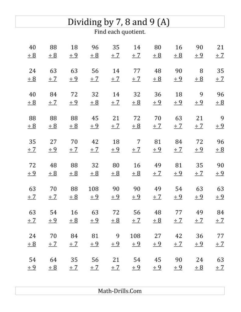 7,8 & 9 Division Worksheets Intended For Multiplication Worksheets Year 8