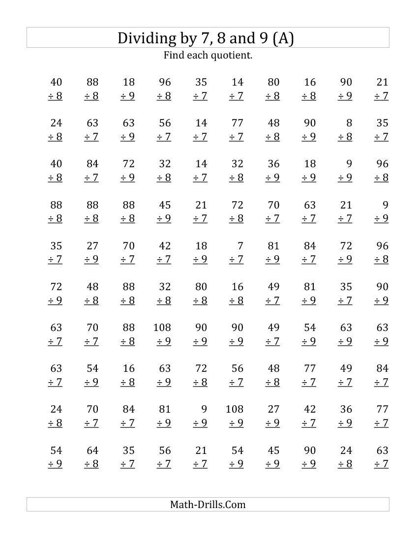 7,8 & 9 Division Worksheets with Multiplication Worksheets 8 Grade