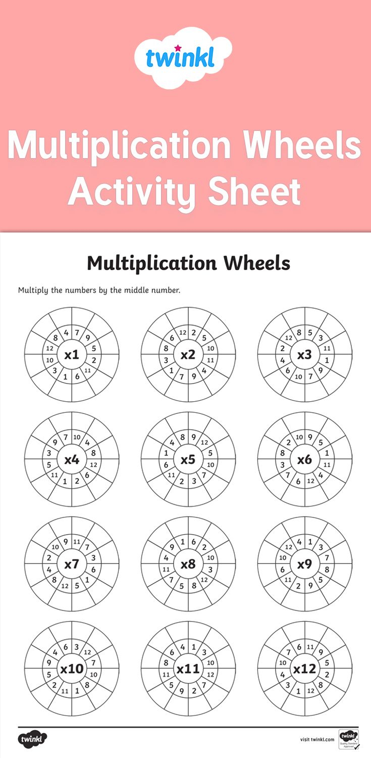 A Worksheet Featuring Multiplication Wheels For Times Tables for Printable Multiplication Wheels