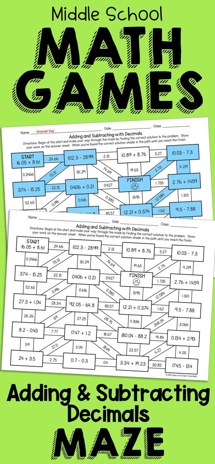 Printable Decimal Multiplication Games
