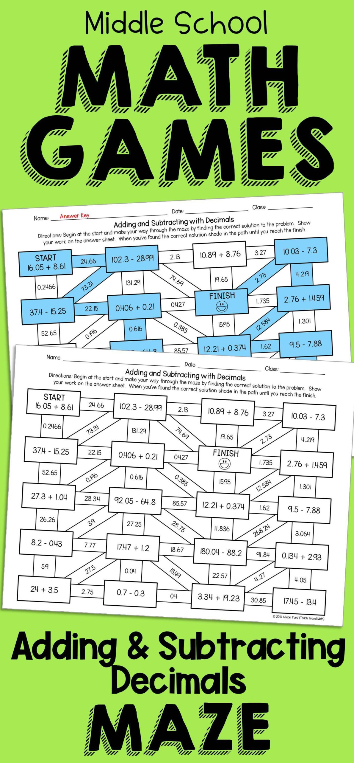 Decimal Addition And Subtraction Maze | Spectacular Sixth for Printable Decimal Multiplication Games