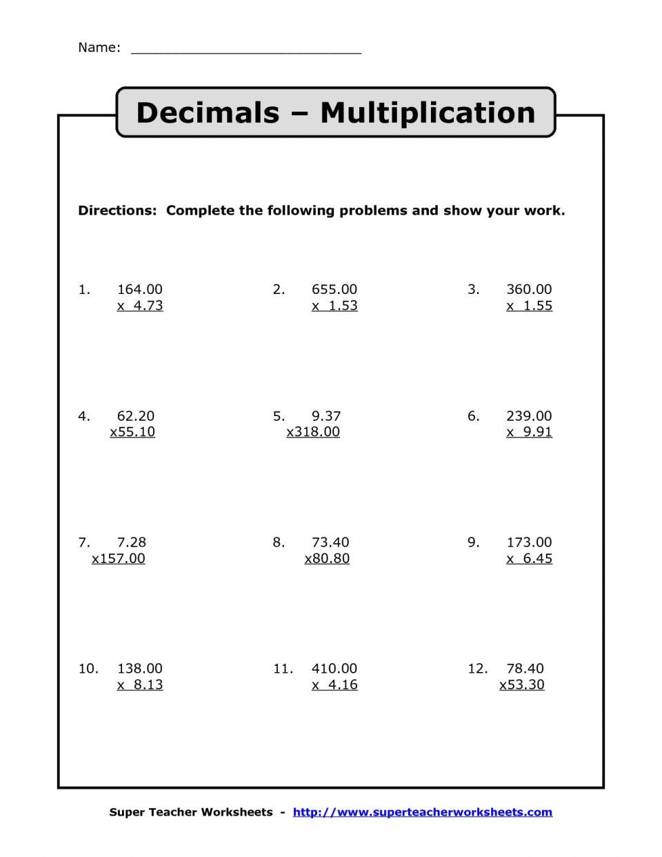 Decimal Division Worksheets Multiplication With Decimals with Worksheets Multiplication Of Decimals