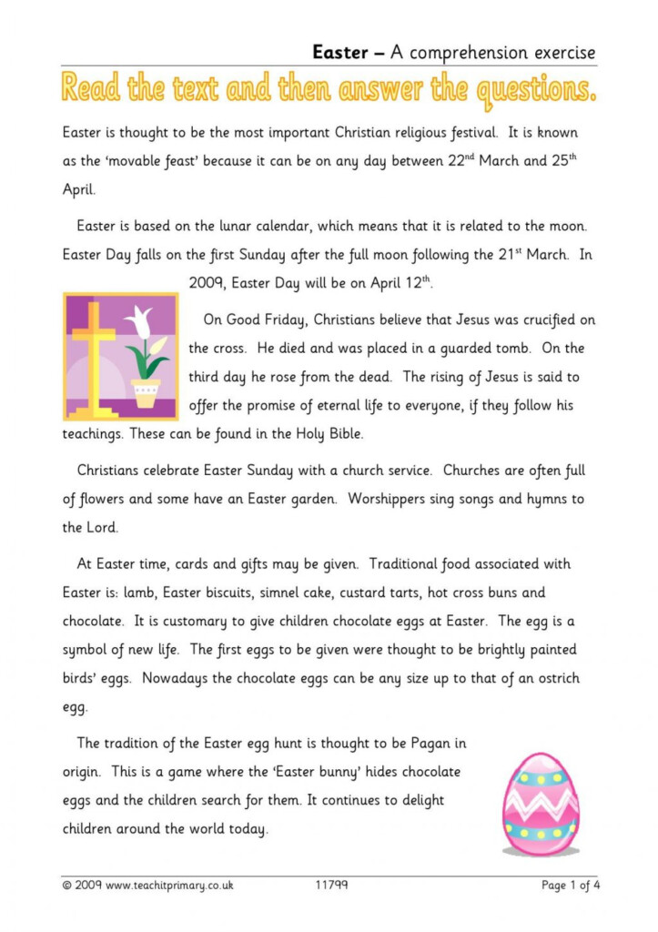 Easter Reading Sion Traditions Worksheets Ks2 Literacy Kids Within Multiplication Worksheets Year 3 Tes