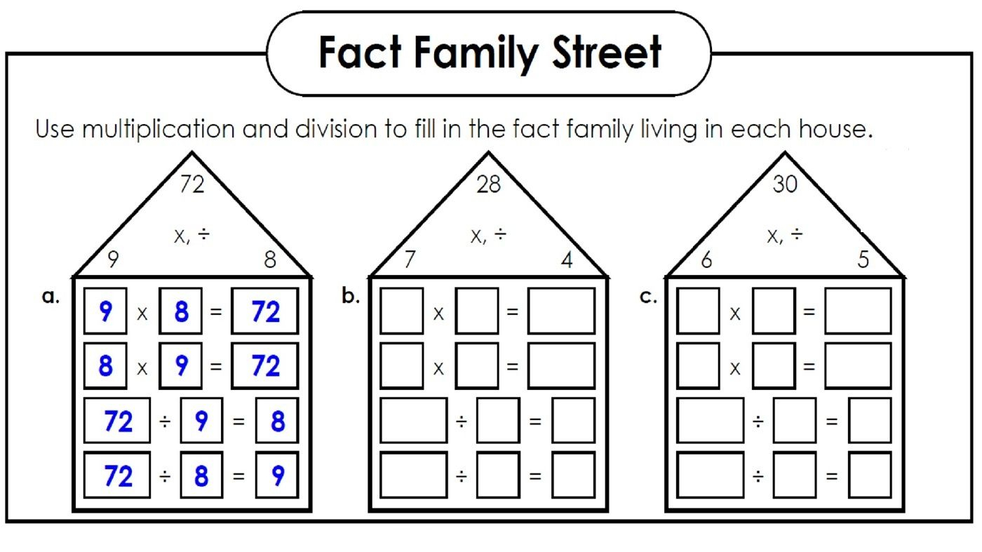 Fact Families Worksheets Printable | Fact Family Worksheet throughout Multiplication Houses Printable