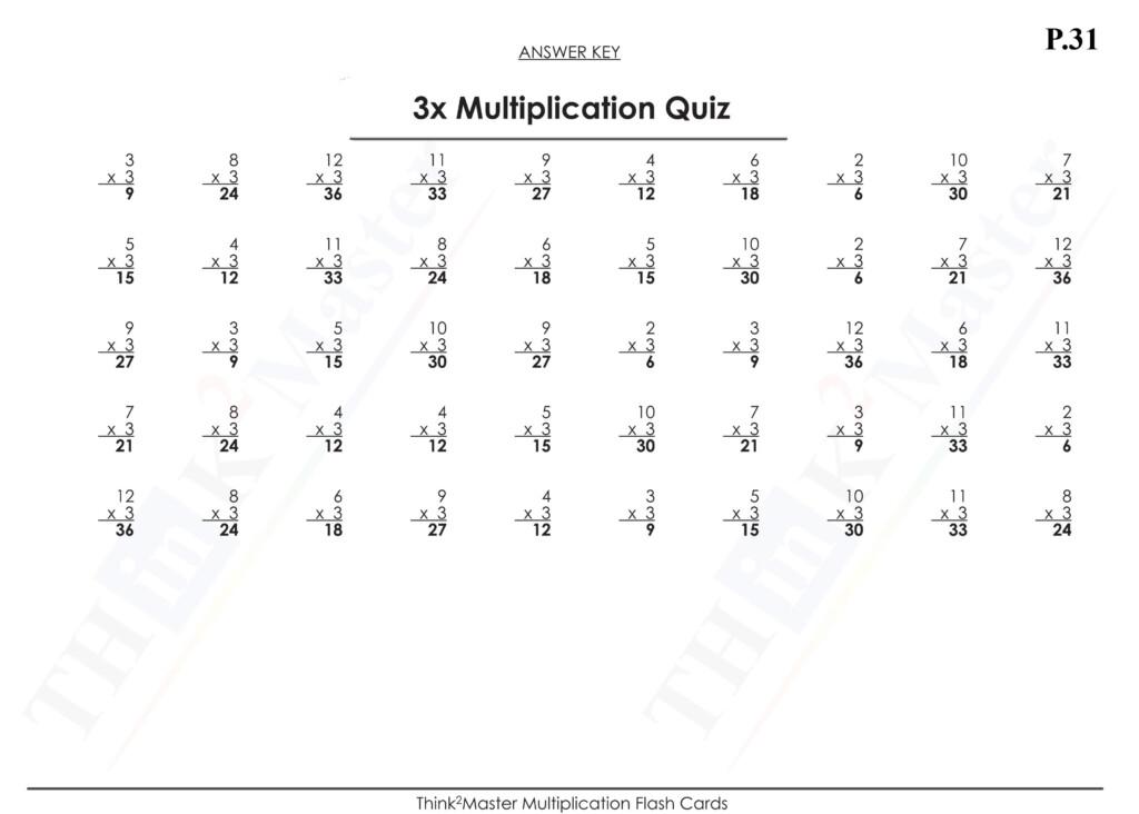 Free Printable 3X Multiplication Quiz Answers | Free Intended For Printable Multiplication Flash Cards 1 15