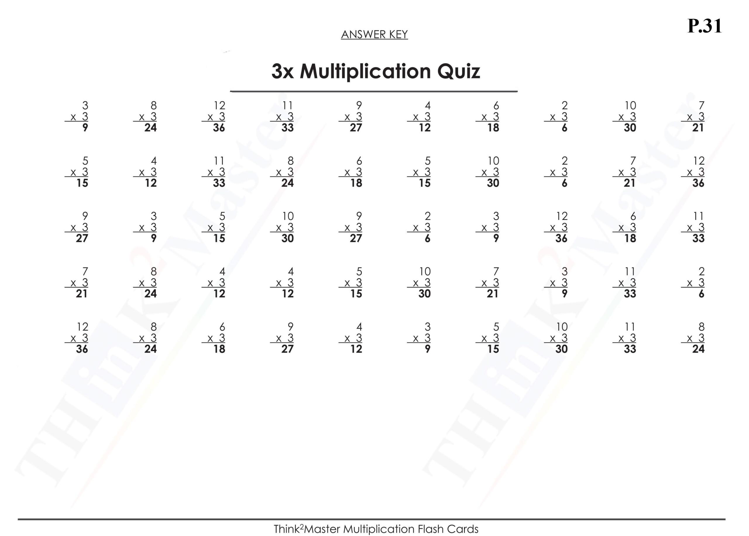 Free Printable 3X Multiplication Quiz Answers | Free intended for Printable Multiplication Flash Cards 1-15