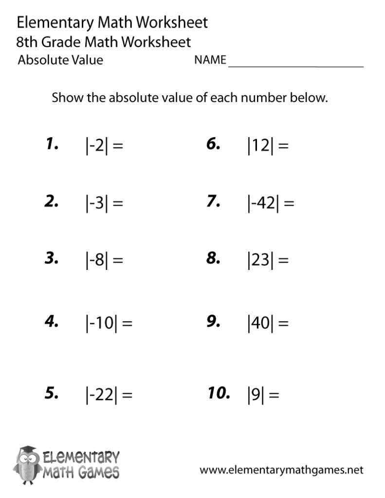 Free Printable Absolute Value Worksheet For Eighth Grade Inside Multiplication Worksheets 8Th
