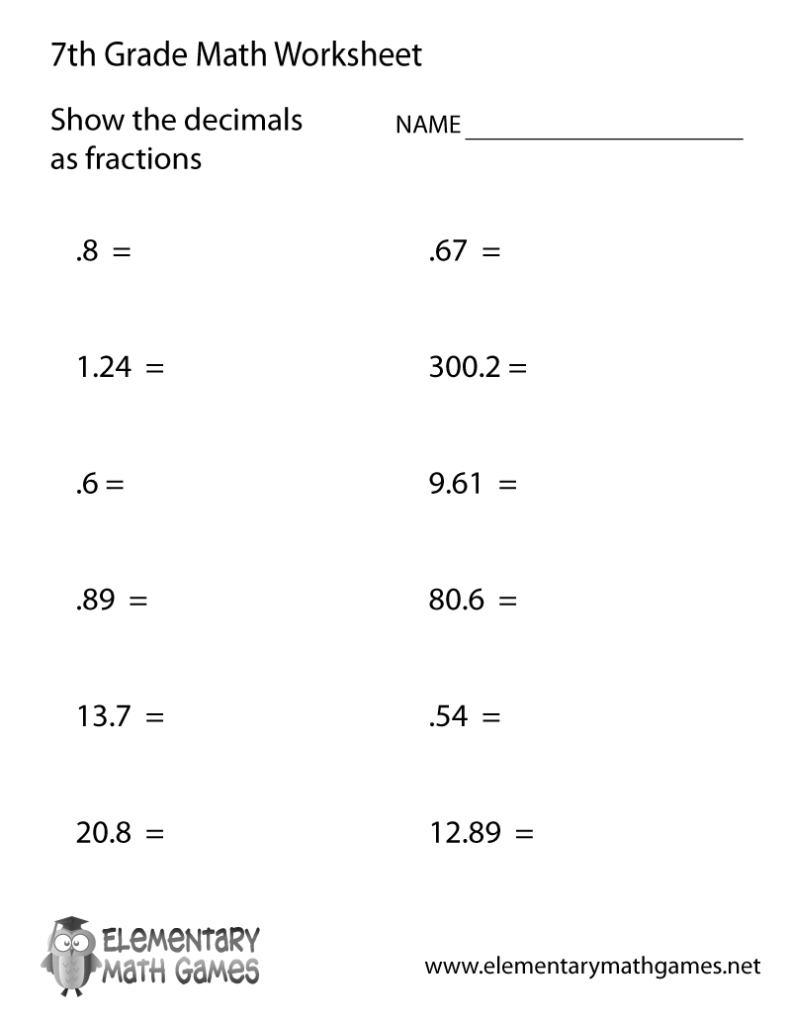 Free Printable Decimals Worksheet For Seventh Grade Within Printable Multiplication Worksheets For 7Th Grade