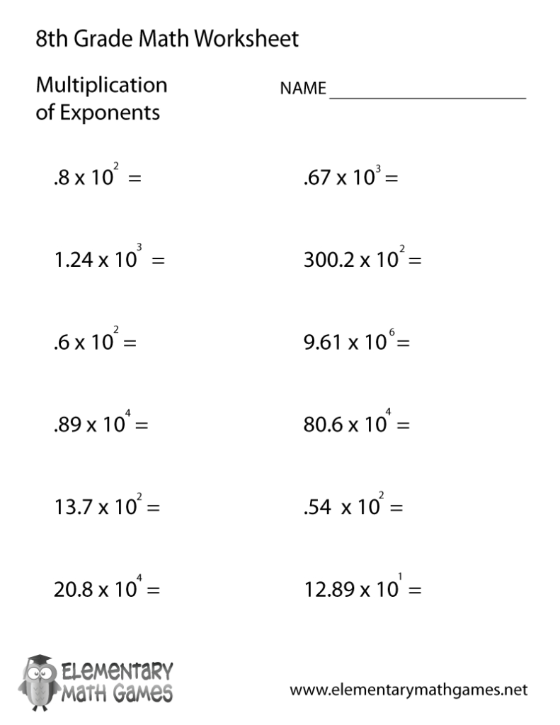 Free Printable Multiplication Of Exponents Worksheet For Inside Multiplication Worksheets 8Th