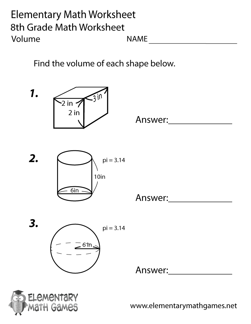 Free Printable Volume Worksheet For Eighth Grade inside Printable Multiplication Worksheets 8Th Grade