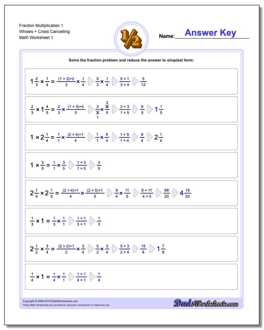 Full Fraction Multiplication inside Multiplication Worksheets X1