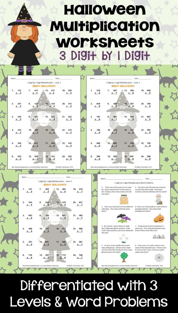 Halloween Math 3 Digit1 Digit Multiplication Worksheets Inside Multiplication Lapbook Printable