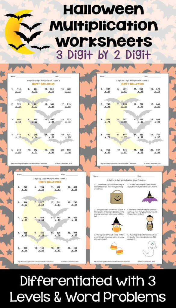 Halloween Math 3 Digit2 Digit Multiplication Worksheets With Regard To Multiplication Worksheets Halloween