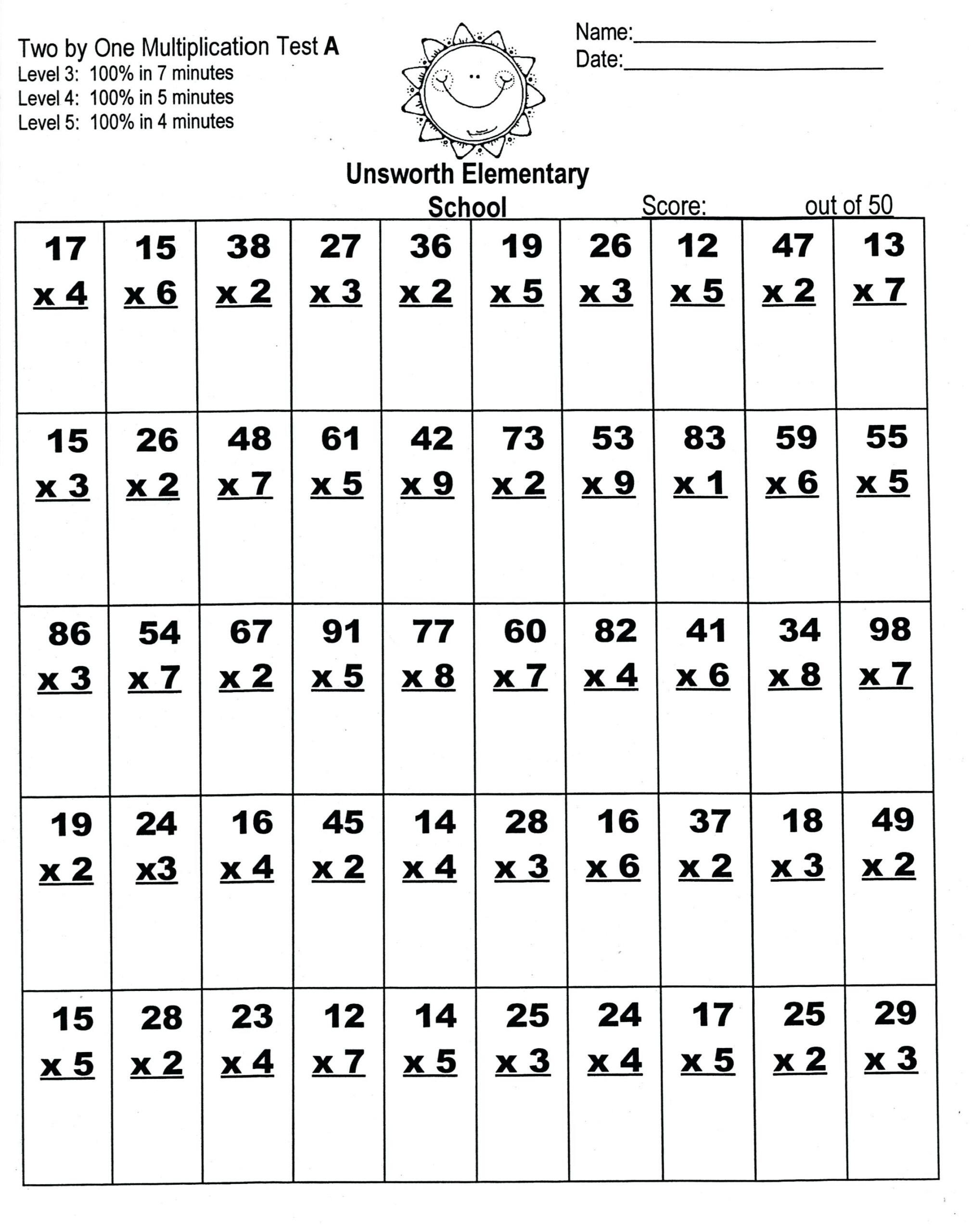Kids Orksheets Year Free Printable Short Comprehension For within Multiplication Worksheets X3 And X4