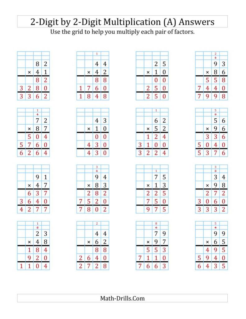 Ks2 Complete Grid Method Multiplication Using Worksheet For Printable Multiplication Grid Worksheet Generator