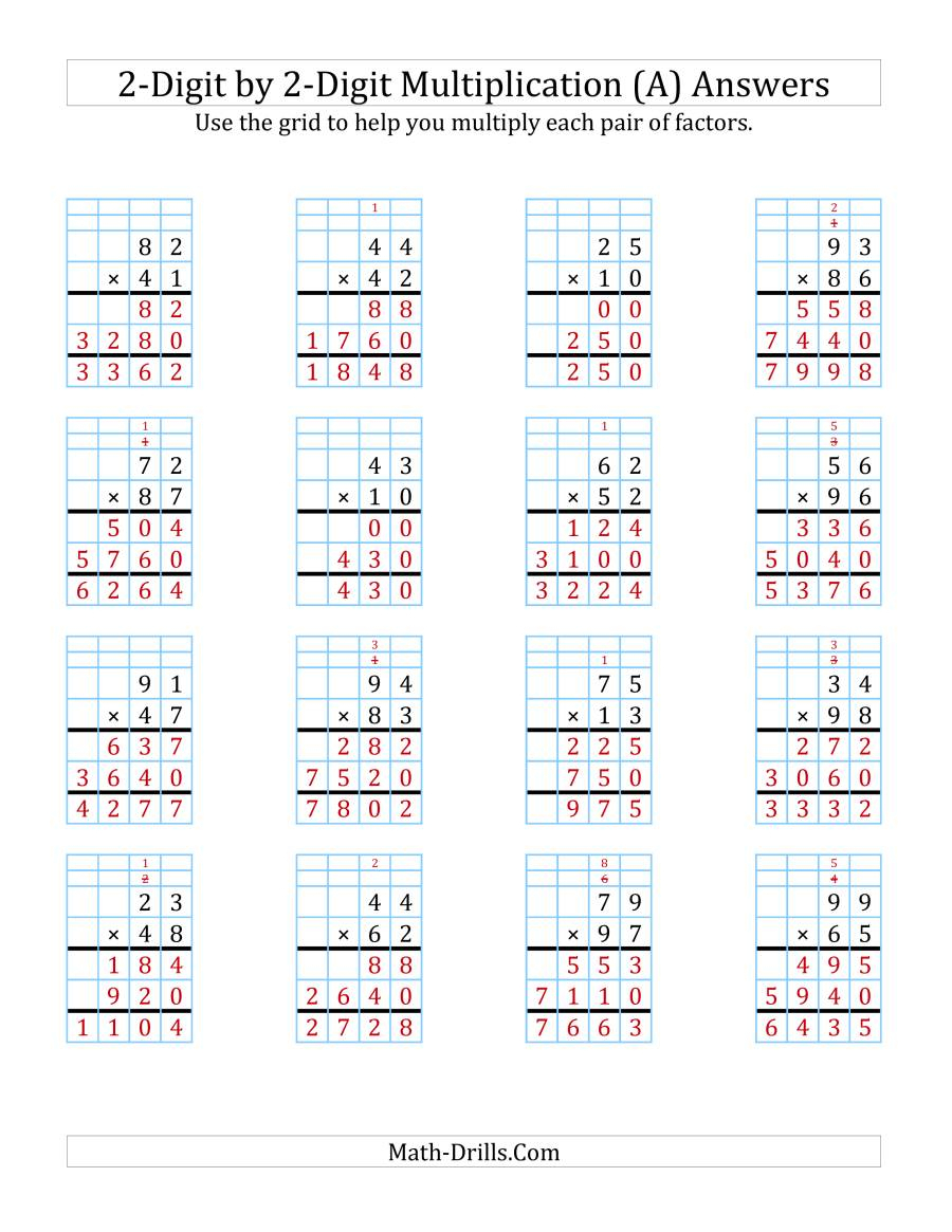 Ks2 Complete Grid Method Multiplication Using Worksheet for Printable Multiplication Grid Worksheet Generator