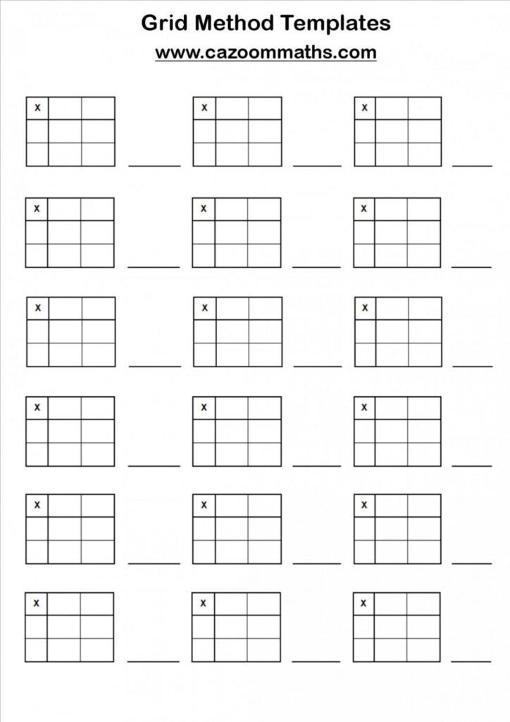 Maths Grid Method Worksheet Sorting Ks2 Multiplication In Printable Multiplication Grid Method