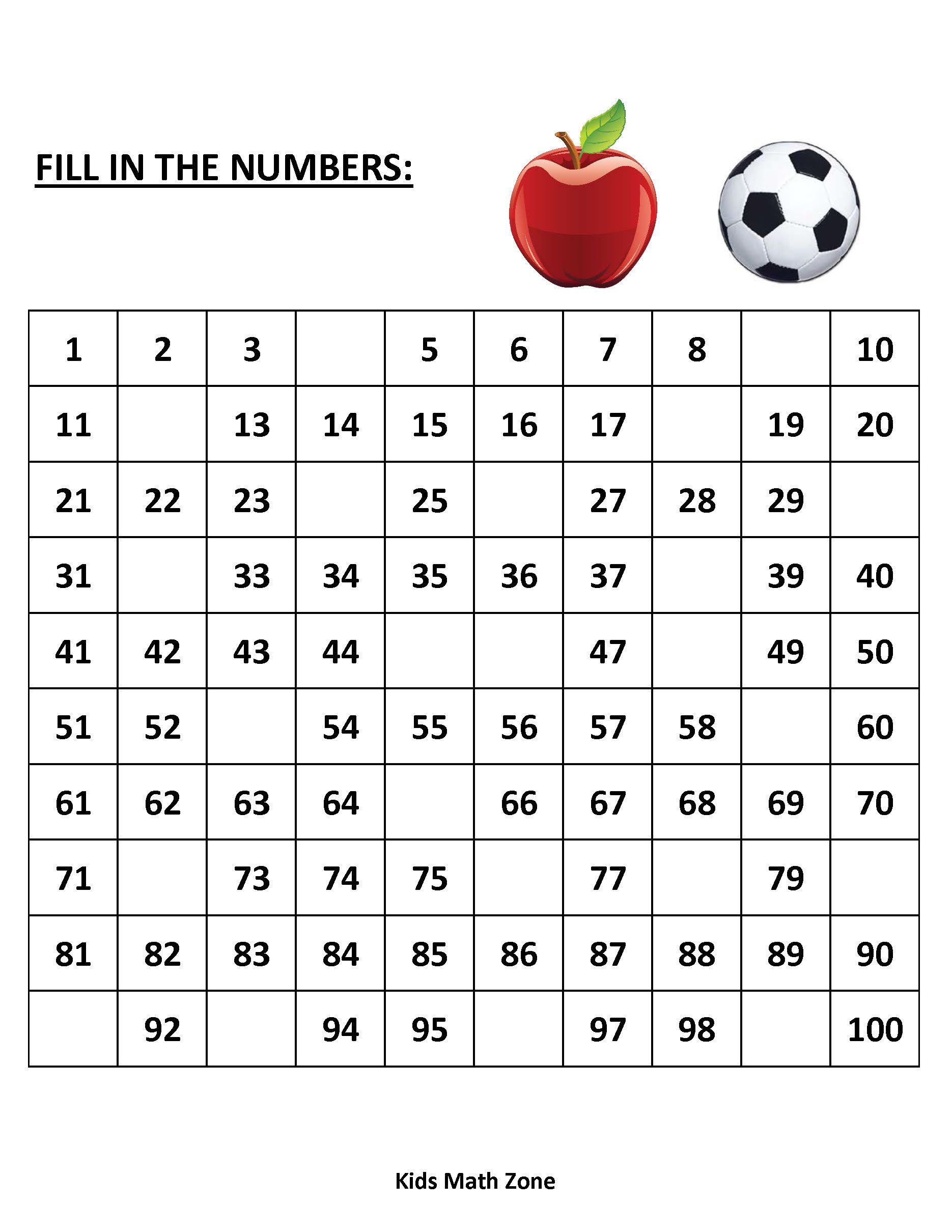 Missing Numbers 1 To 100 (10 Printable Worksheets )/pdf in Printable Multiplication Games Pdf