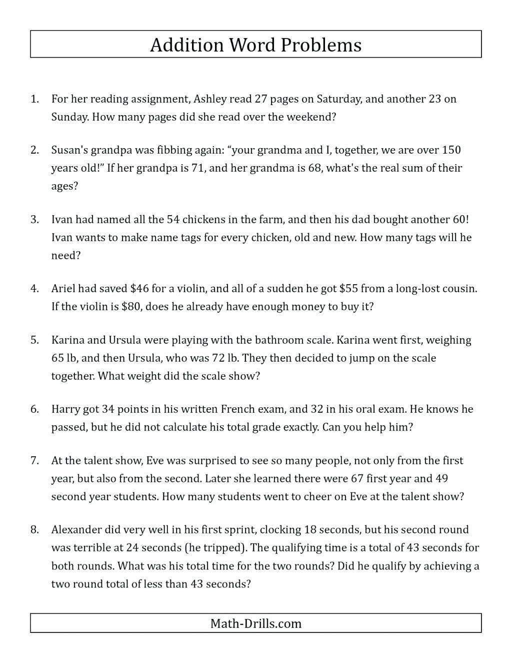 Money Word Problems Worksheet For Grade 2 | Printable for Printable Multiplication Sprints