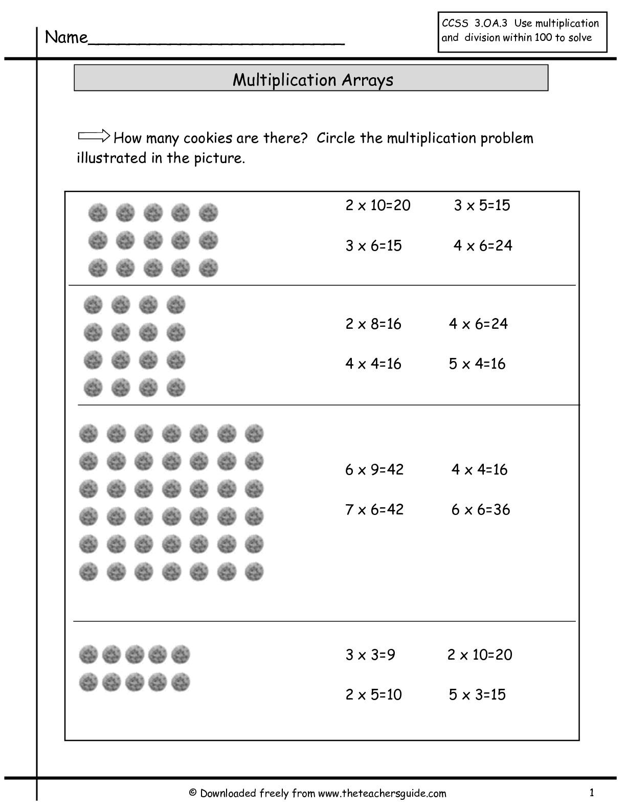 Multiplication Array Worksheets & Division Arrays Worksheets inside Printable Multiplication Array Worksheets