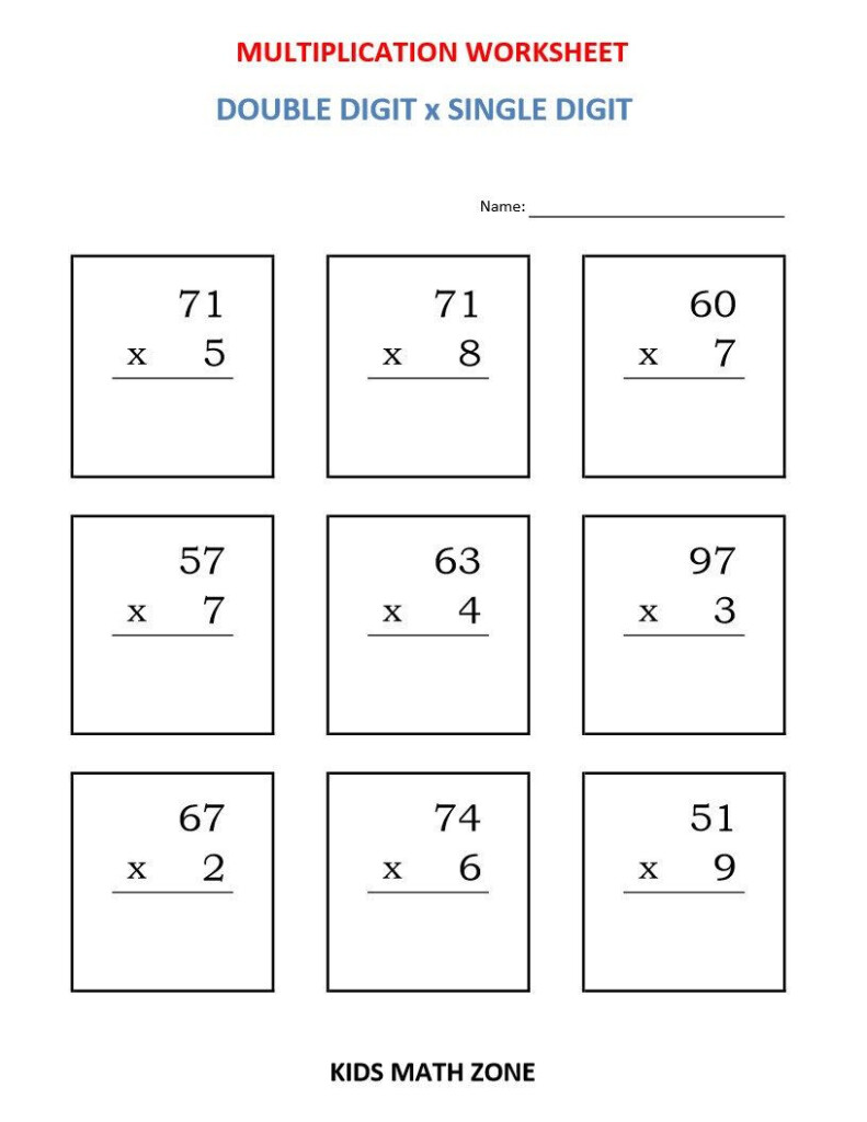 Multiplication Double Digit X Single Digit (10 Worksheets With Multiplication Worksheets Ks2 Pdf