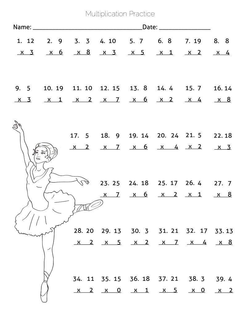 Multiplication Practice Worksheet - Ballerina Dancing Theme pertaining to Multiplication Quiz Printable 4Th Grade