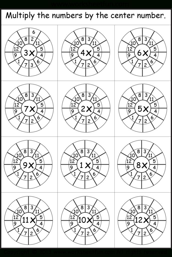 Multiplication Target Circles   Math Worksheets Regarding Printable Multiplication Wheels