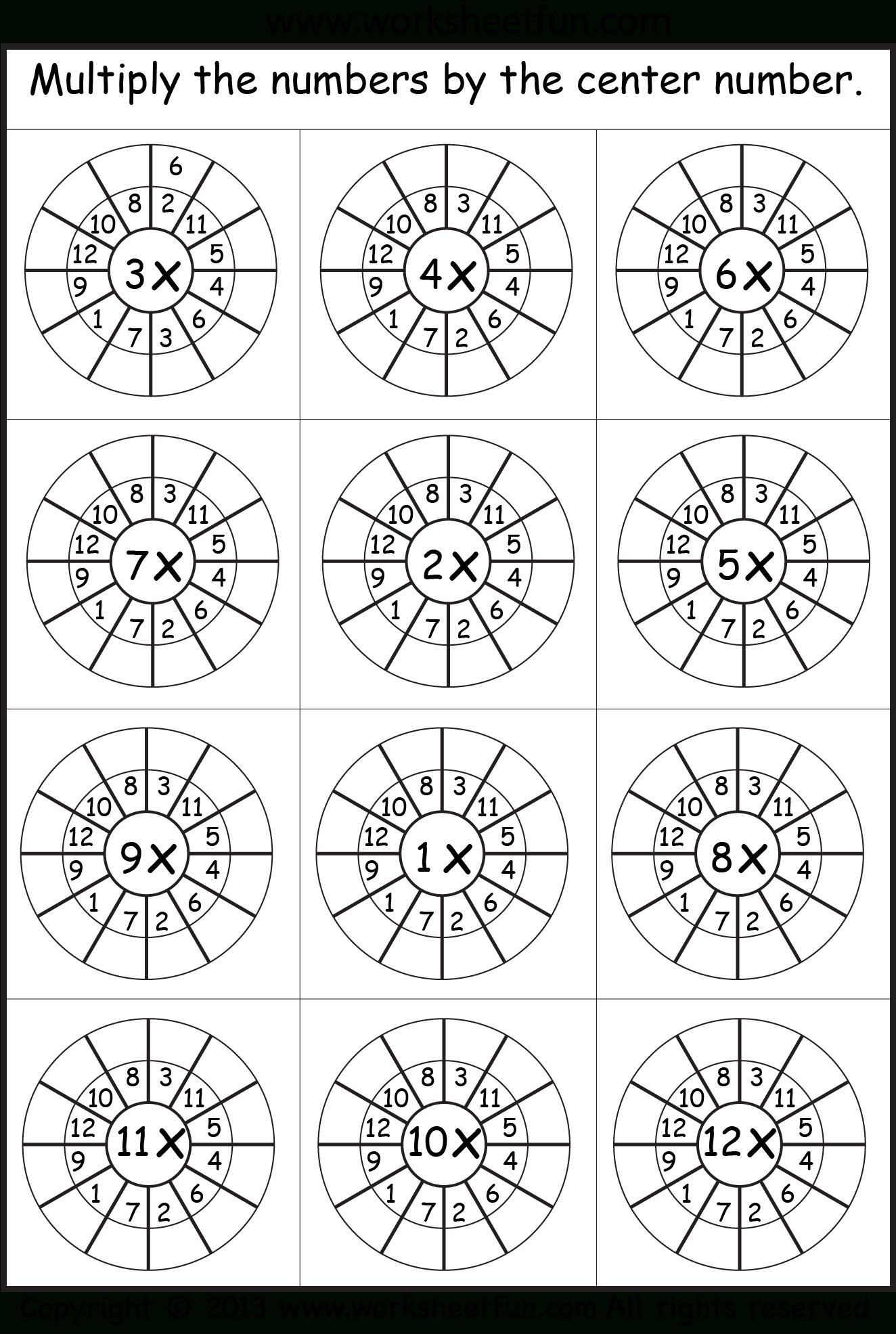 Multiplication Target Circles | Math Worksheets regarding Printable Multiplication Wheels