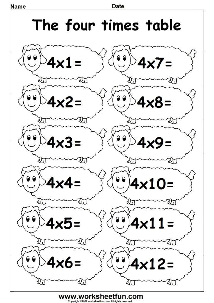 Multiplication Times Tables Worksheets – 2, 3 & 4 Times Inside Printable Multiplication 4S