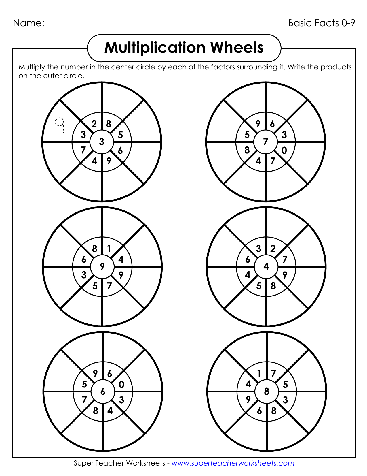 Multiplication Wheels - Super Teacher Worksheets | Manualzz within Printable Multiplication Wheels