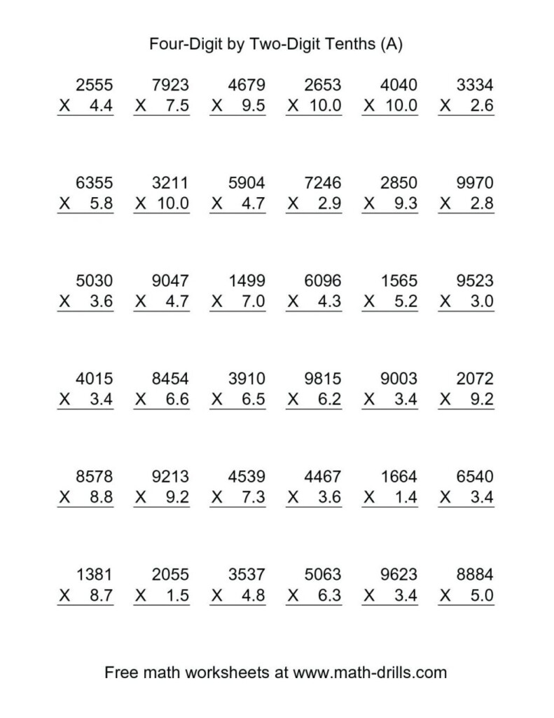 Multiplication Worksheet With Decimals Works | Alicanteapaneca Pertaining To Worksheets On Multiplication For Grade 5