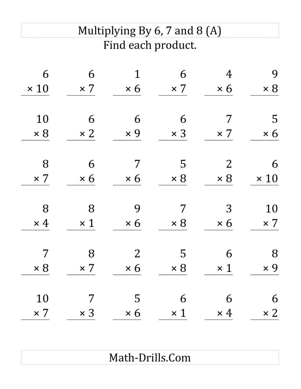 Multiplication Worksheets 6 7 8 9 intended for Multiplication Worksheets 6 7 8 9