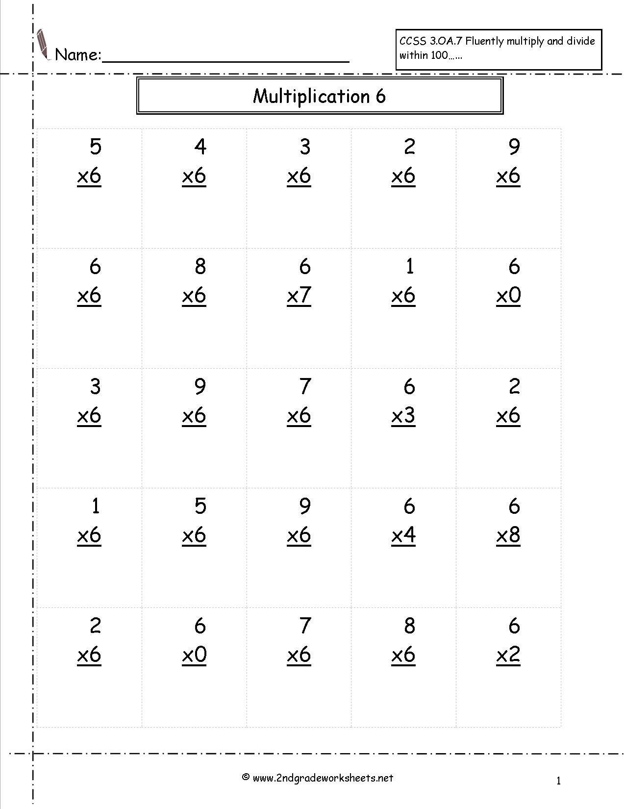 Multiplication Worksheets And Printouts for Multiplication Worksheets 6S And 7S